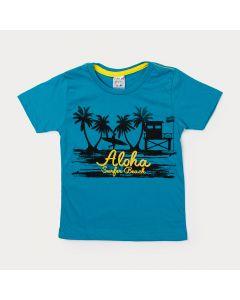 Camiseta Infantil de Menino Verde com Estampa de Praia