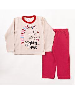 Conjunto Longo Infantil Folia Kids Blusa Unicórnio Rosa e Calça em Moletom Pink
