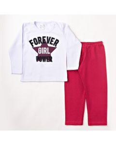 Conjunto Longo Infantil Folia Kids Blusa Girl Branca e Calça em Moletom Pink