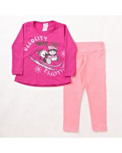 Conjunto Longo Infantil Folia Kids Blusa Estampada em Meia Malha Pink e Legging em Cotton Rosa