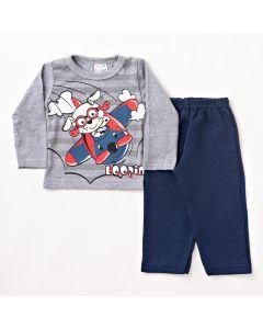 Conjunto Longo Bebê Folia Kids Blusa Estampada em Meia Malha Cinza e Calça em Moletom Marinho