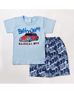 Conjunto Infantil Masculino Bermuda Azul e Camiseta com Estampa