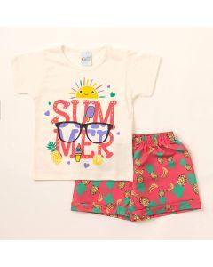 Conjunto de Verão Infantil Feminino Short Estampado e Blusa Marfim