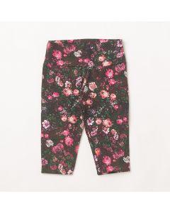 Calça Fantoni Legging Floral Preto em Cotton