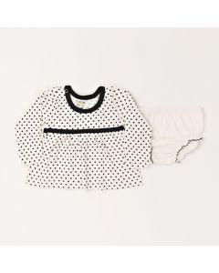 Conjunto Bebê Vestido Poa e Calcinha Em Meia Malha Marfim