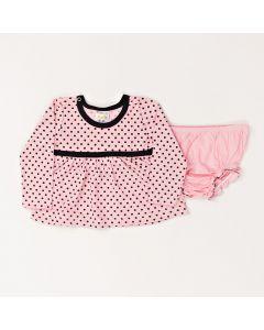 Conjunto Bebê Vestido Poa e Calcinha Em Meia Malha Rosa