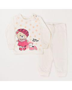 Conjunto Inverno Bebê Blusa Ursinho e Calça Em Meia Malha Marfim