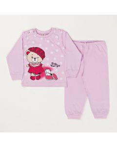 Conjunto Inverno Bebê Blusa Ursinho e Calça Em Meia Malha Lilás