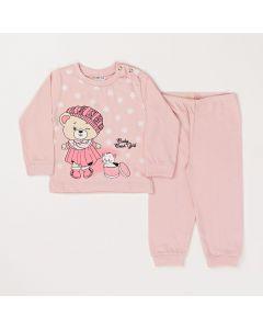 Conjunto Inverno Bebê Blusa Ursinho e Calça Em Meia Malha Rosa