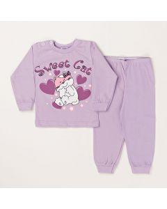 Conjunto Inverno Bebê Blusa Sweet Cat e Calça Em Meia Malha Lilás