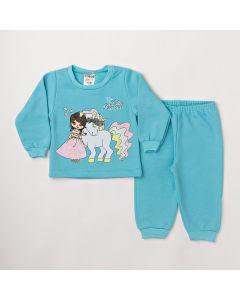 Conjunto Longo Fantoni Blusa Unicorn Azul e Calça Básica Azul em Moletom