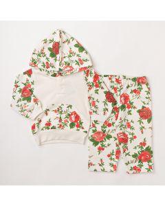 Conjunto Longo Fantoni Casaco com Capuz Marfim e Calça Floral Marfim em Moletom