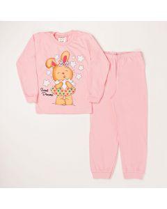 Conjunto Infantil Blusa Estampada Calça Em Meia Malha Rosa
