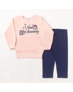 Conjunto Longo Fantoni Casaco Dreaming Rosa em Moletom e Calça Legging Básica Marinho em Cotton