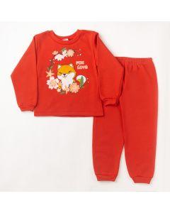 Conjunto Longo Fantoni Blusa Fox Vermelho e Calça Básica Vermelho em Moletom