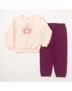 Conjunto Longo Fantoni Casaco Coroa Rosa em Metalassê e Calça com Punho Roxo em Moletom
