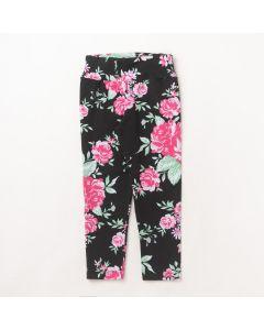 Calça Fantoni Legging Flores Preto em Cotton