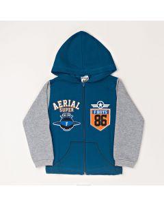 Jaqueta Infantil Estampada Com Capuz Em Moletom Azul