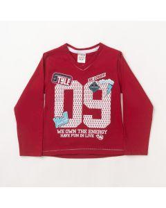 Camiseta Manga Longa Fantoni 09 Vermelho em Meia Malha