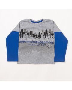 Camiseta Manga Longa Fantoni New York Cinza em Meia Malha