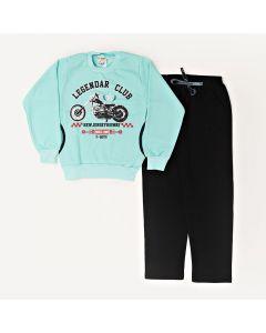 Conjunto Infantil  Blusa Estampada Verde Com Bolso e Calça Em Moletom Preto