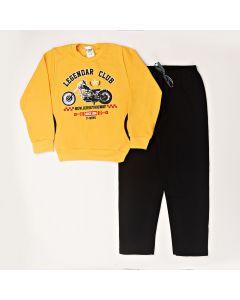 Conjunto Infantil  Blusa Estampada Amarelo Com Bolso e Calça Em Moletom Preto