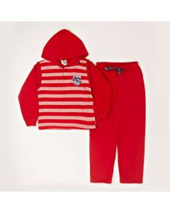 Conjunto Blusa Listrada Com Capuz e Calça Em Moletom Vermelho