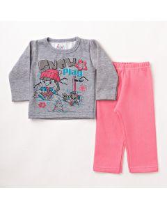 Conjunto Longo Bebê Folia Kids Blusa Estampada Mescla e Calça em Moletom Rosa
