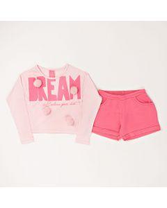 Conjunto Longo Infantil Kamylus Blusa Dream em Meia Malha Rosa e Shorts em Moletinho Pink