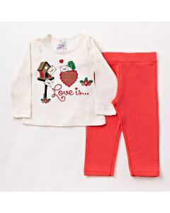 Conjunto Longo Bebê Folia Kids Blusa Love em Meia Malha Marfim e Calça em Moletom Laranja