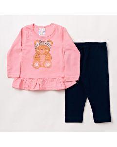 Conjunto Longo Bebê Folia Kids Blusa Estampada com Babado em Meia Malha Rosa e Legging em Cotton Marinho