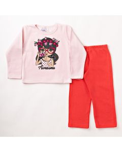 Conjunto Longo Infantil Folia Kids Blusa Girl Rosa e Calça em Moletom Vermelha