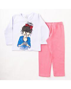 Conjunto Longo Infantil Folia Kids Blusa Estampada Branca e Calça em Moletom Rosa