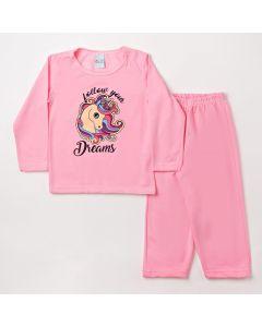 Pijama de Unicórnio Infantil Feminino Com Calça e Blusa Rosa