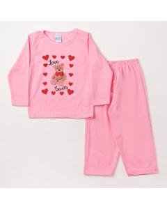 Pijama Infantil Feminino com Calça Rosa e Blusa com Estampa de Urso
