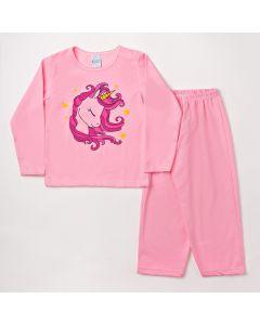 Pijama Infantil de Unicórnio com Blusa e Calça