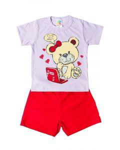 Pijama Infantil Feminino Curto Blusa com Ursinho e Bermuda Vermelha