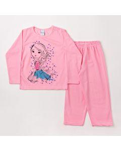 Pijama Infantil Feminino Blusa Manga Longa com Estampa e Calça Rosa