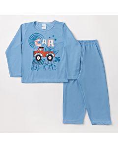 Pijama Infantil Masculino Calça Azul e Blusa de Manga Longa Carro
