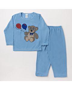 Pijama Infantil Masculino Blusa com Urso e Calça Azul