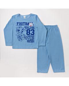 Pijama Infantil Menino com Calça em Moletinho e Blusa Azul