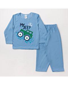 Pijama Infantil Masculino com Calça Azul e Blusa com Estampa de Jeep