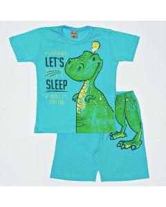 Pijama Curto Kamylus Camiseta Dino que Brilha no Escuro e Bermuda em Meia Malha Azul