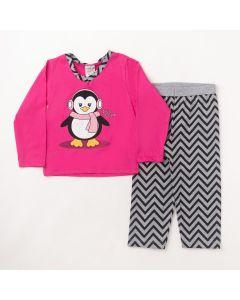 Pijama Longo Fantoni Blusa Pinguim Pink e Calça Estampada Mescla em Meia Malha