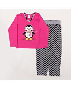 Pijama Longo Fantoni Blusa Pinguim Pink e Calça Estampada Mescla Meia Malha