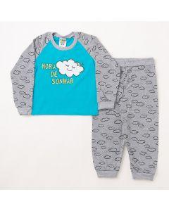 Pijama Longo Fantoni Blusa Nuvem Azul e Calça Estampada Mescla em Meia Malha