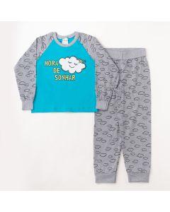 Pijama Longo Fantoni Blusa Nuvem Azul e Calça Estampada Mescla Meia Malha