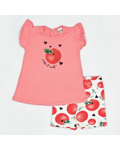 Conjunto Curto Boca Grande Blusa Fruit em Meia Malha Rosa e Shorts Estampado em Cotton Branco