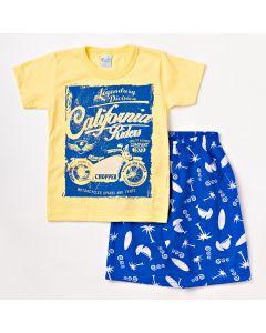 Conjunto Infantil Masculino Bermuda Azul em Sarja e Camiseta Amarela com Estampa