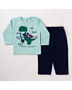 Conjunto Infantil Masculino Longo Blusa Verde com Estampa e Calça de Moletom Azul